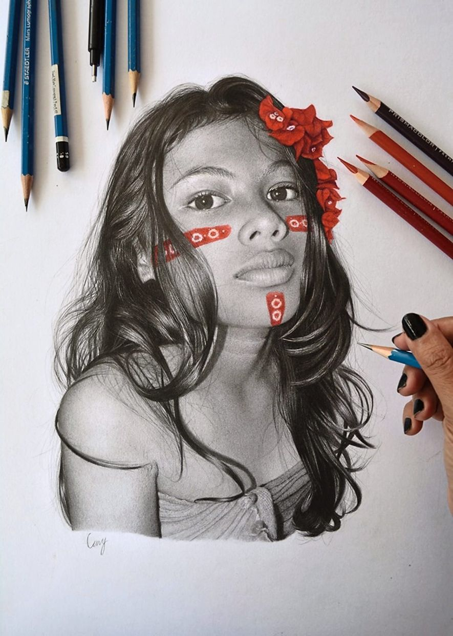 Leny's work called 'Red Bougainvillea' is portrait of a Temuan girl from a village in Gombak in Selangor. Photo: LENY MAKNOH