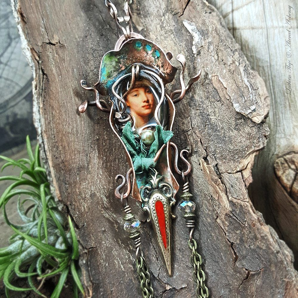 Lady in the Mirror - Birdhouse Vessel steampunk necklace, handforged from recycled copper.