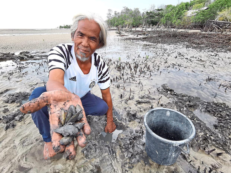 Yusof showing fresh clams that can be dug from the shores near Kampung Batu Laut.