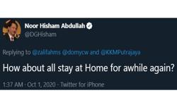 Dr Noor Hisham's 'stay at home' reply sparks discussions on Twitter