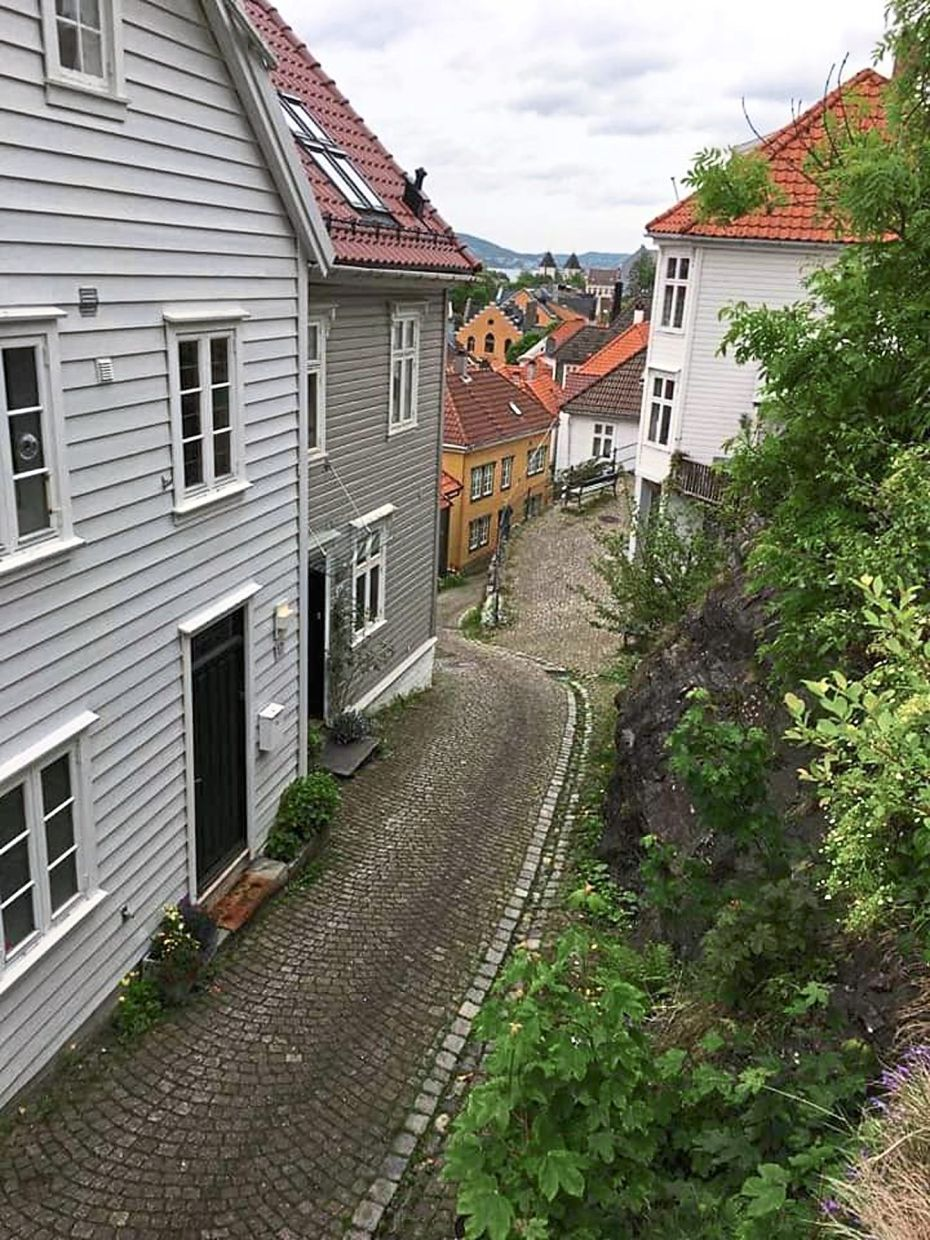 At Bergen, the writer and her sister were amused by the narrow lanes between the houses.