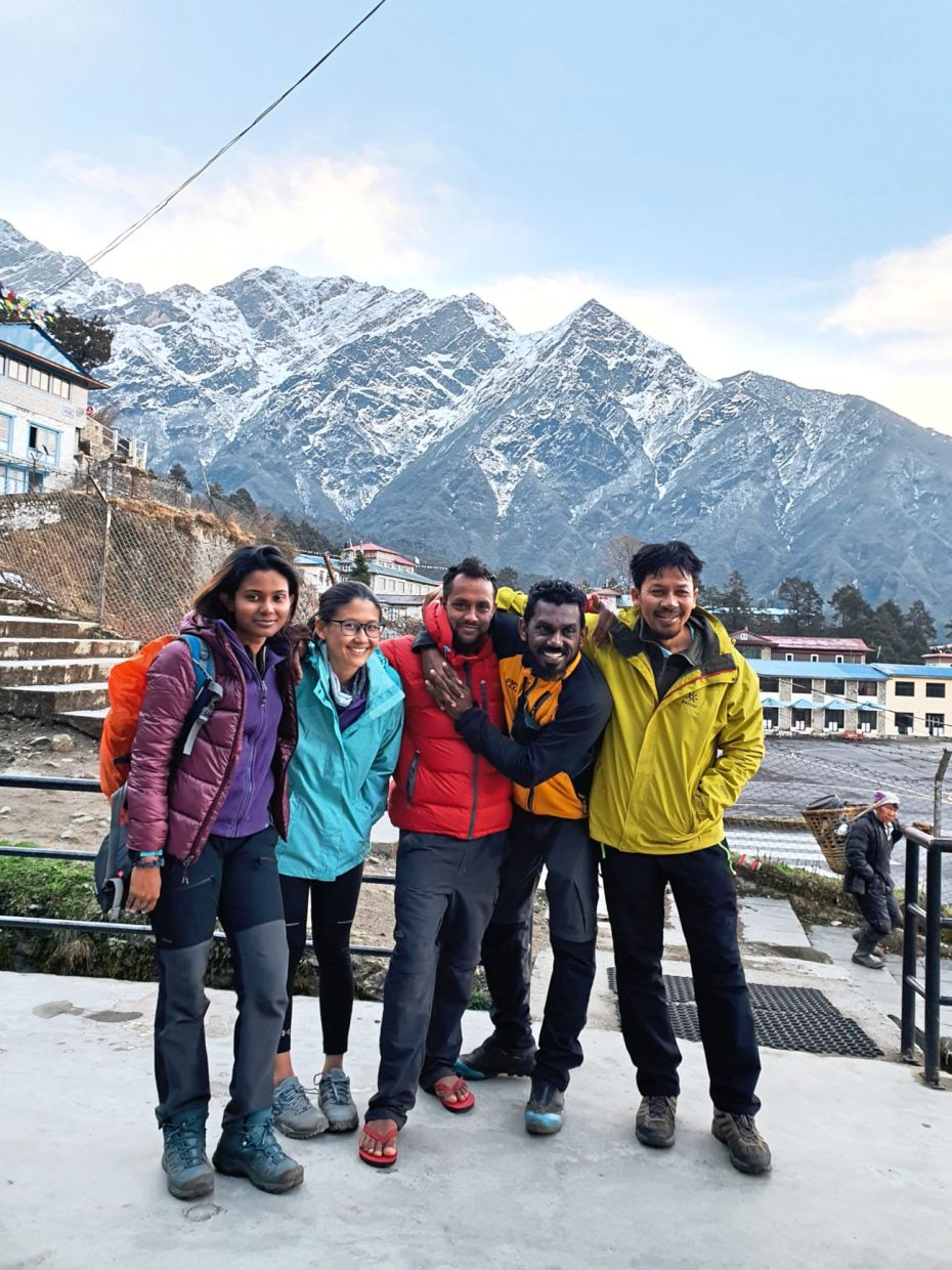 (From left) The writer and her friends Wan Xin, Ramji, Thaya and Azam were stranded in Lukla when Nepal went into lockdown in March.