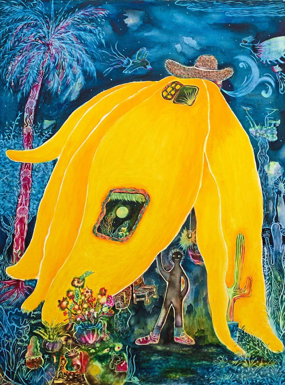 C.C. Kua's 'Going Bananas I' (watercolour on canvas, 2020). Photo: The Back Room KL