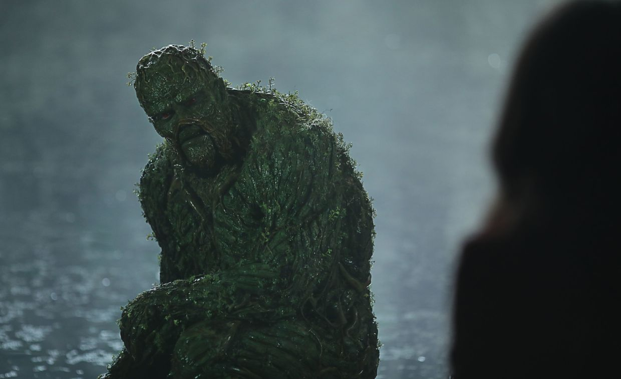 Swamp Thing asks Abby the very important question of exactly who or what he is. Photo: Warner TV