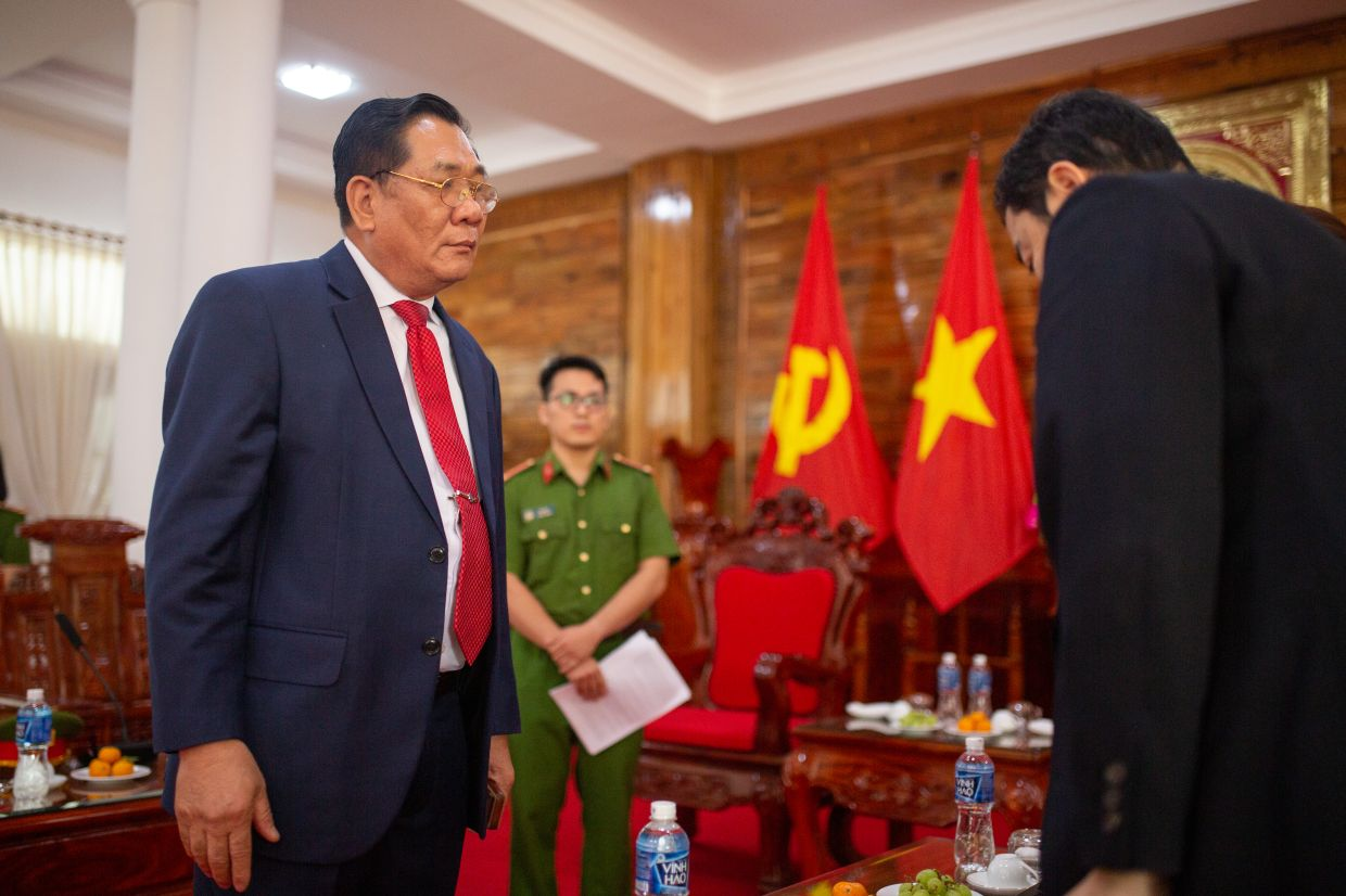 Lieutenant General Ho Thanh Dinh, the director of Vietnam's national prison system, meets international journalists in Thu Duc Prison.