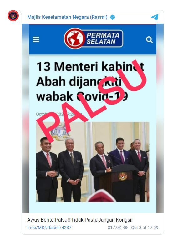 MKN reminding members of the public not to share a false report claiming 13 cabinet ministers has tested positive for Covid-19. — Screengrab from Telegram