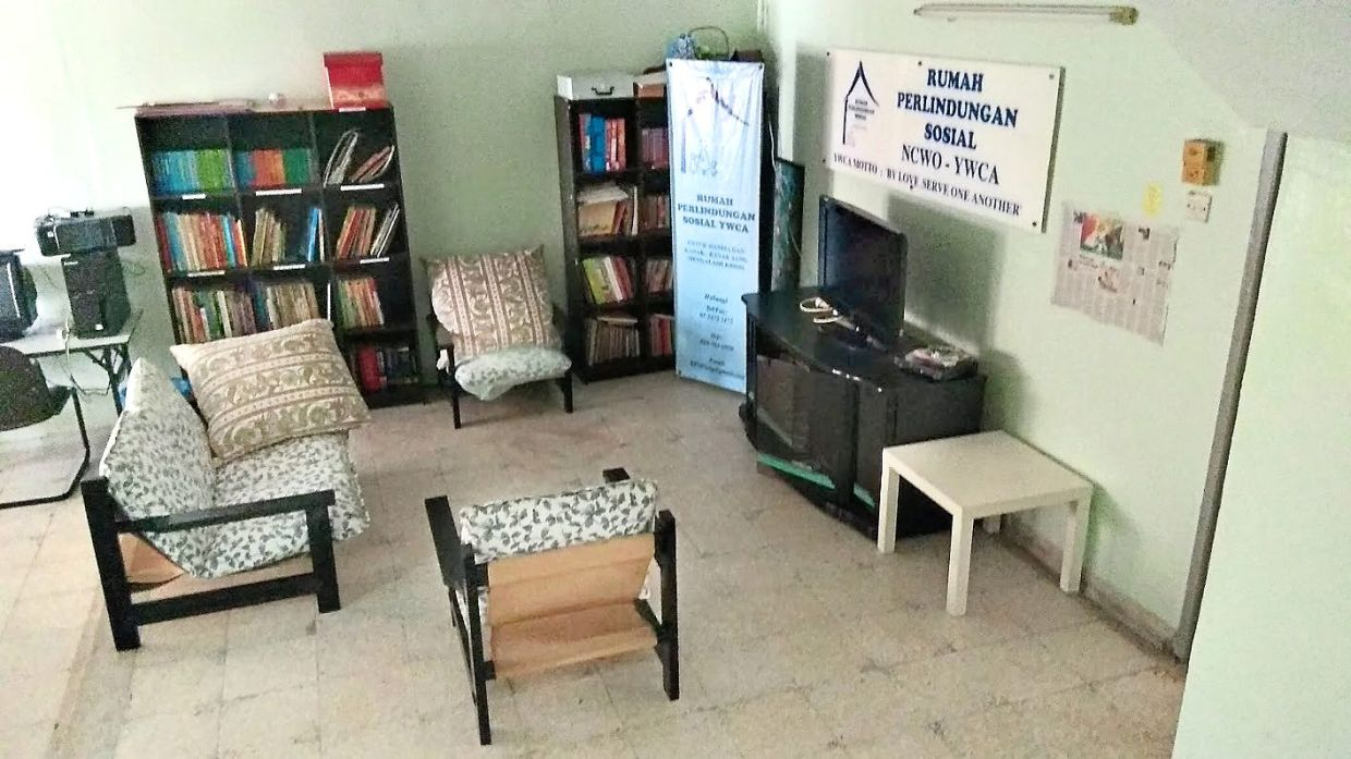 The living room where residents can relax and do some reading. Photo: Rumah Perlindungan Sosial YWCA