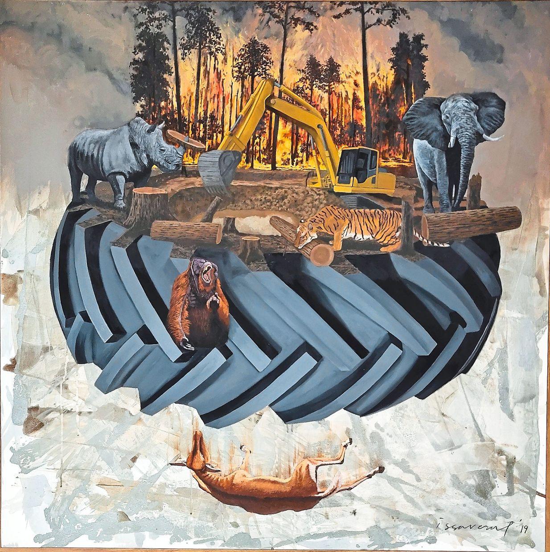Issarezal Ismail's 'Seeing The Unseen' (oil and bitumen on canvas, 2019). Photo: Pelita Hati