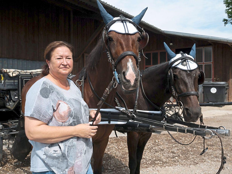 Fiaker operator Ursula Chytracek with her horses.