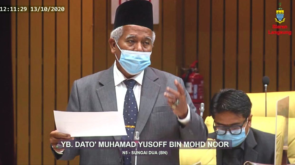 Muhamad Yusoff taking part in the debate on the state's Budget 2021.