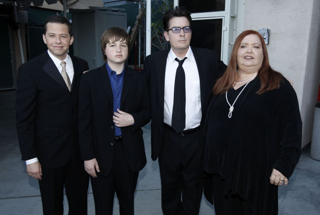 The cast of 'Two And A Half Men' in 2009, (from left) Jon Cryer, Angus T. Jones, Charlie Sheen and Conchata Ferrell. Photo: AP