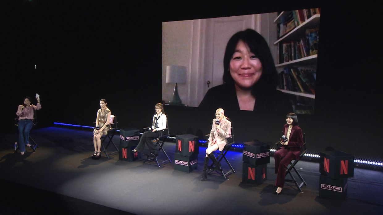 Blackpink at a press conference held in Seoul, South Korea, with director Caroline Suh video conferencing from New York.