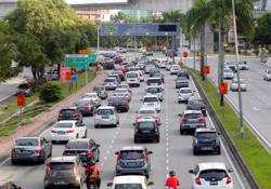 Traffic crawl in Shah Alam on first day of conditional MCO
