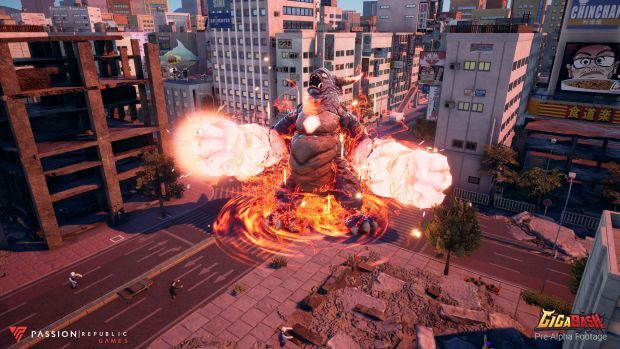 Screenshot of Gorogong - the horned kaiju, laying waste to the surroundings in the upcoming made-in Malaysia video game developed by Passion Republic Games.