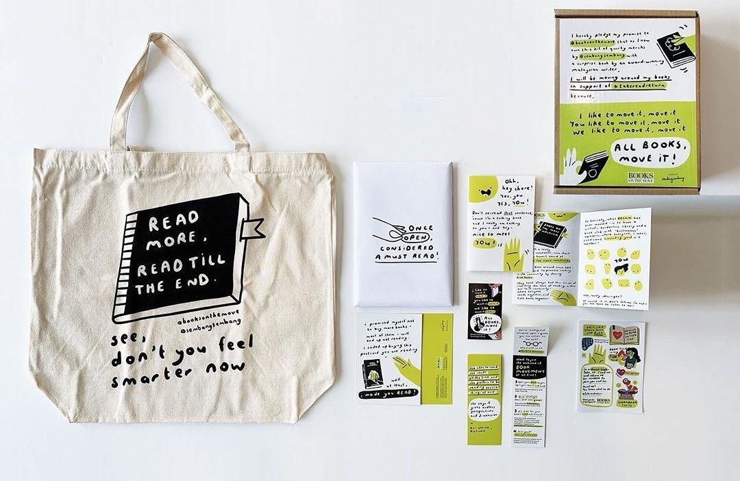 The All Books, Move It pledge kit, from Books On The Move, was specially designed and curated in collaboration with Projek SembangSembang and Gerakbudaya in September. The reading kit box was designed to support local designers, local writers and local businesses, and part of the proceeds used to help sustain Books On The Move. Photo: Handout