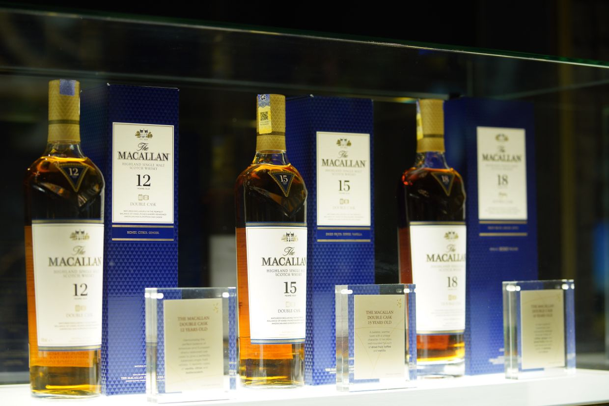 (fFrom left) The Macallan Double Cask 12 Years Old, 15 Years Old and 18 Years Old.