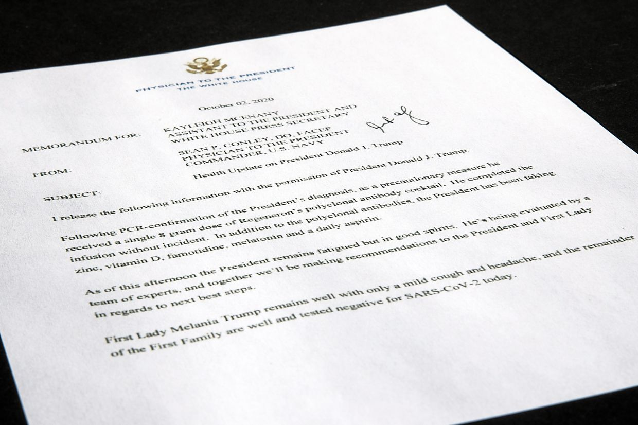 An Oct 2 memorandum from White House physician Dr Sean Conley to White House press secretary Kayleigh McEnany that states Trump received a single 8g dose of Regeneron's experimental antibody cocktail for his Covid-19. — AP