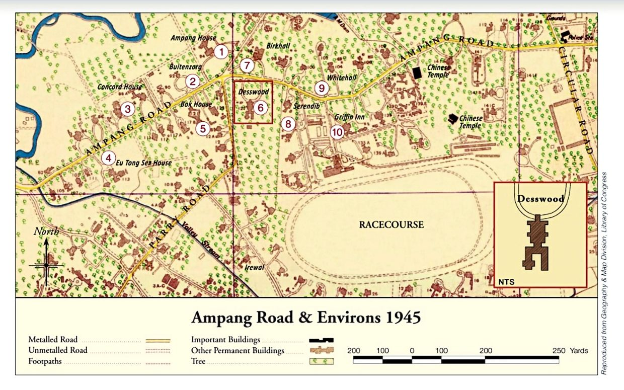 A 1945 map showing large plots of land with bungalows along Ampang Road. Chow Kit was one of the earliest people who started building bungalows in Section 58, where the Selangor Turf Club was.