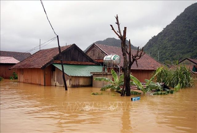 A submerged house in the central province of Quang Bình. - The Vietnam News/ANN