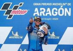 Rins battles past Marquez to seal victory at Aragon GP