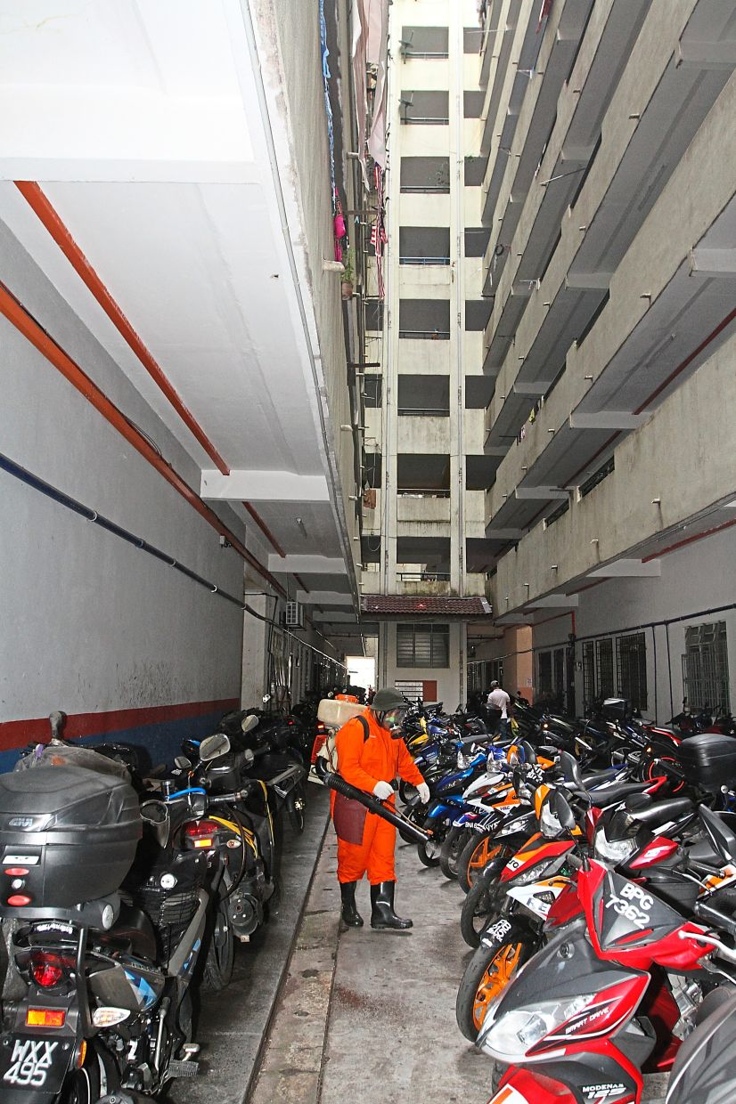 Common spaces and high risk touch points at the Desa Lembah Permai flats in Ampang were sanitised by MPAJ officers after one positive Covid-19 case was identified in the area.