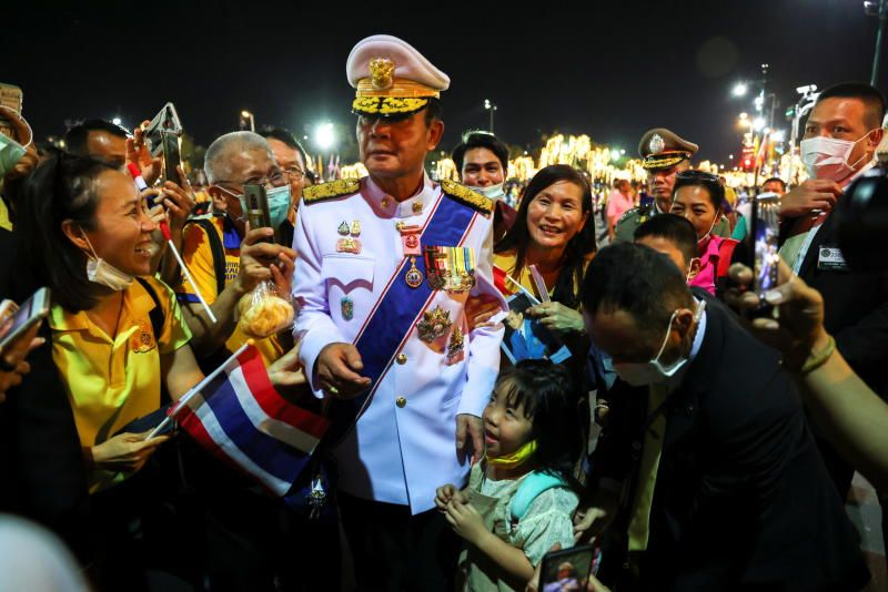 Thailand's Prime Minister Prayut Chan-O-Cha greeting his supporters near The Grand Palace in Bangkok, Thailand, Oct 23, 2020. - Reuters