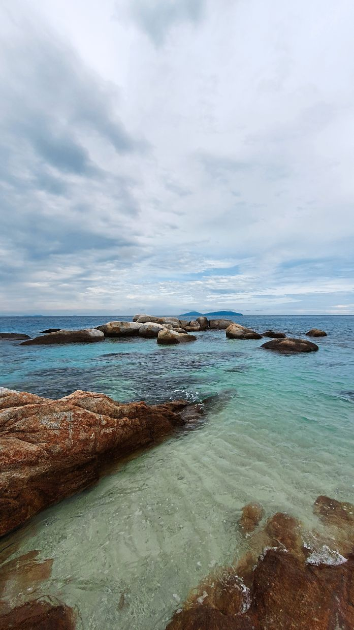 Some parts of the island are rocky, but there is enough space for swimming safely too.