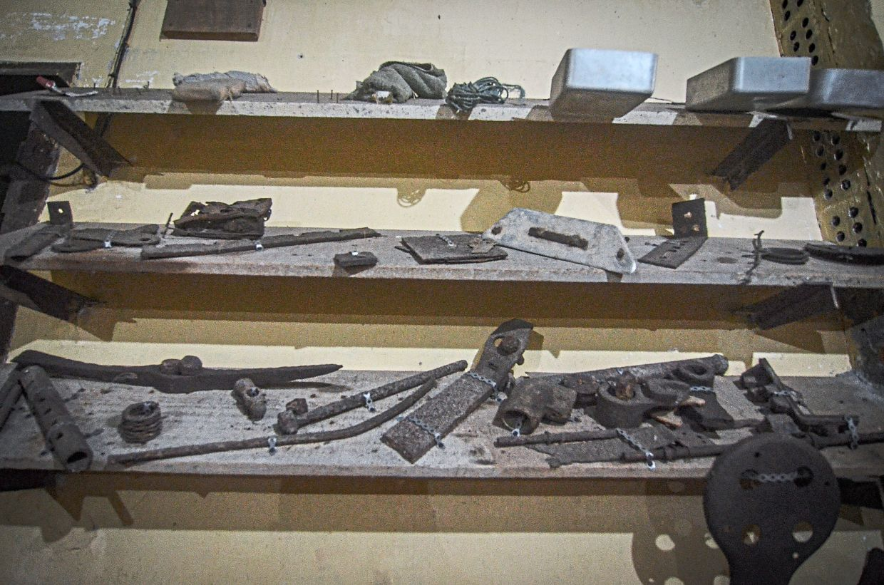 Some of the weapons found in the fortress in Batu Maung are now displayed at the museum.