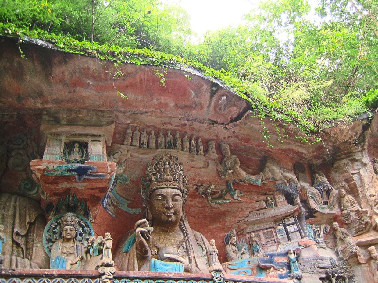 The Dazu Rock Carvings is a Unesco Heritage Site but many of the carvings were damaged.