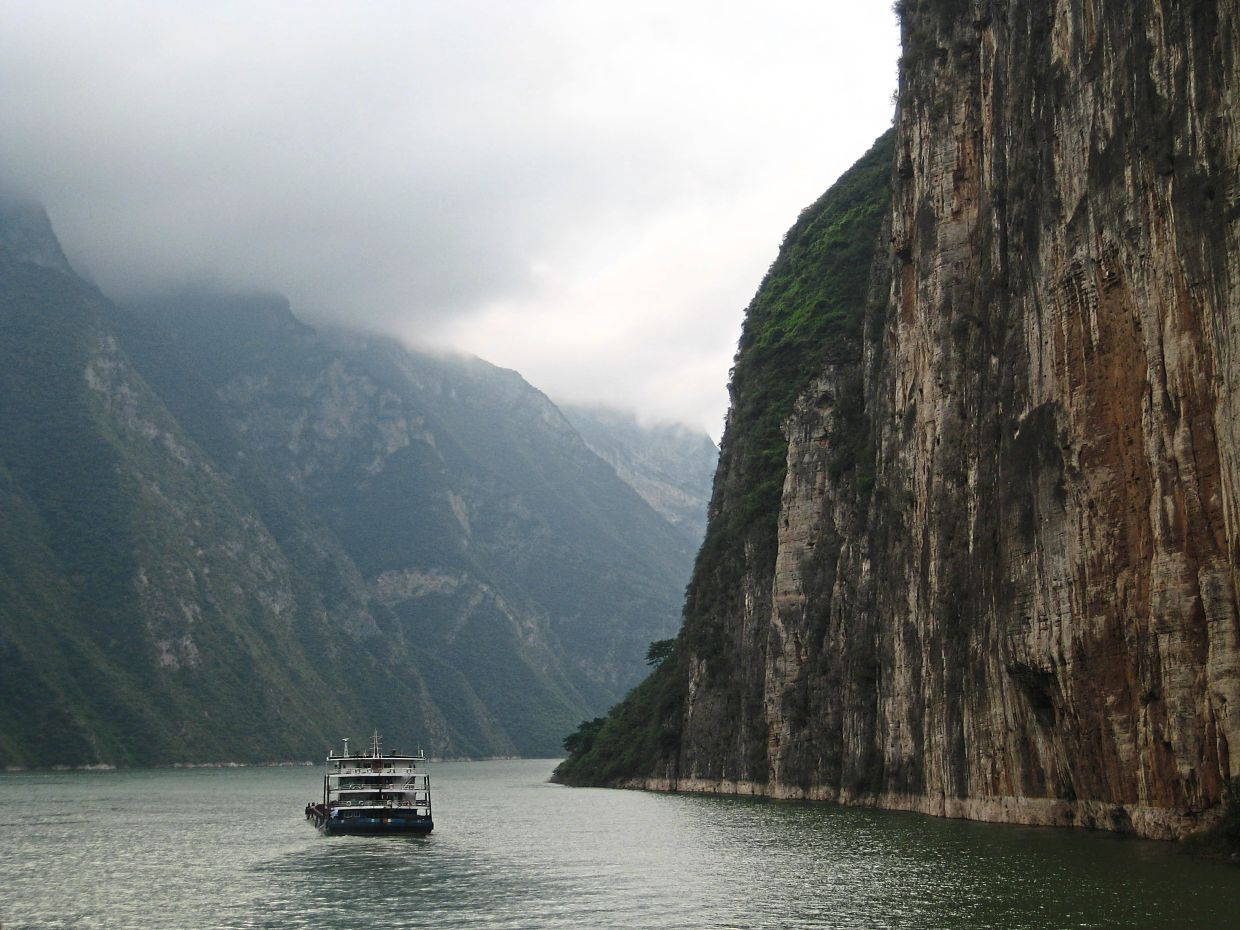 Sailing through the Three Gorges on the Yangtze River.