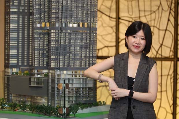 File pic: KSK Group Bhd group chief executive officer Joanne Kua with a model of the company\'s 8 Conlay development.