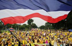 Yellow-shirted Thai royalists show support for king