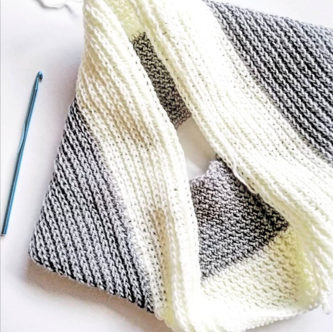 From doilies, Lim progressed to making scarves with loopy chain stitches.