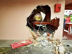 Smash and grab: Three men crash lorry into temple wall, escape with RM5k donation money