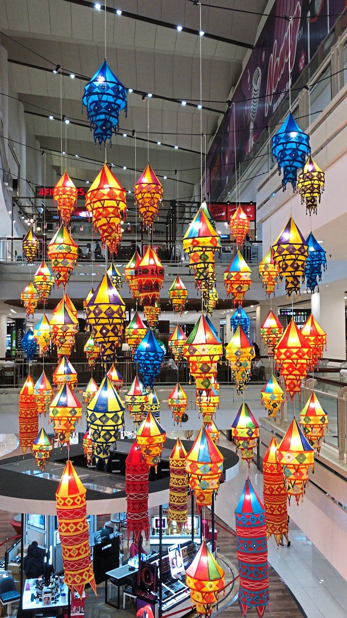 Indian lanterns adding colour to the festivities at the mall.
