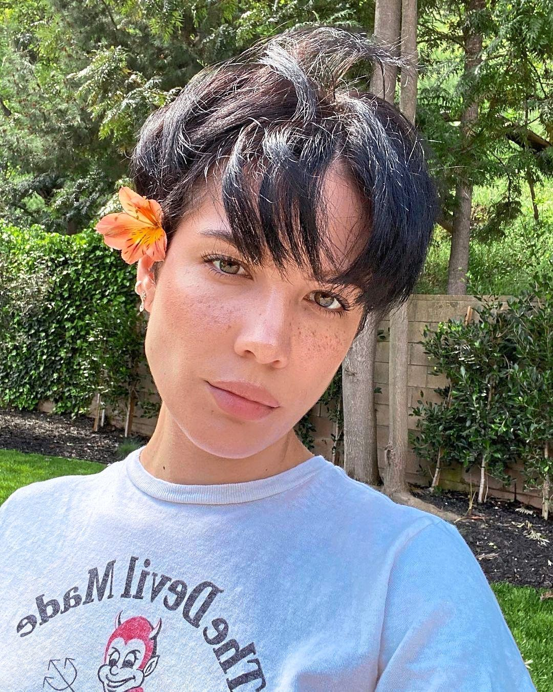 Here's Halsey with hair sporting a pixie cut earlier during quarantine.