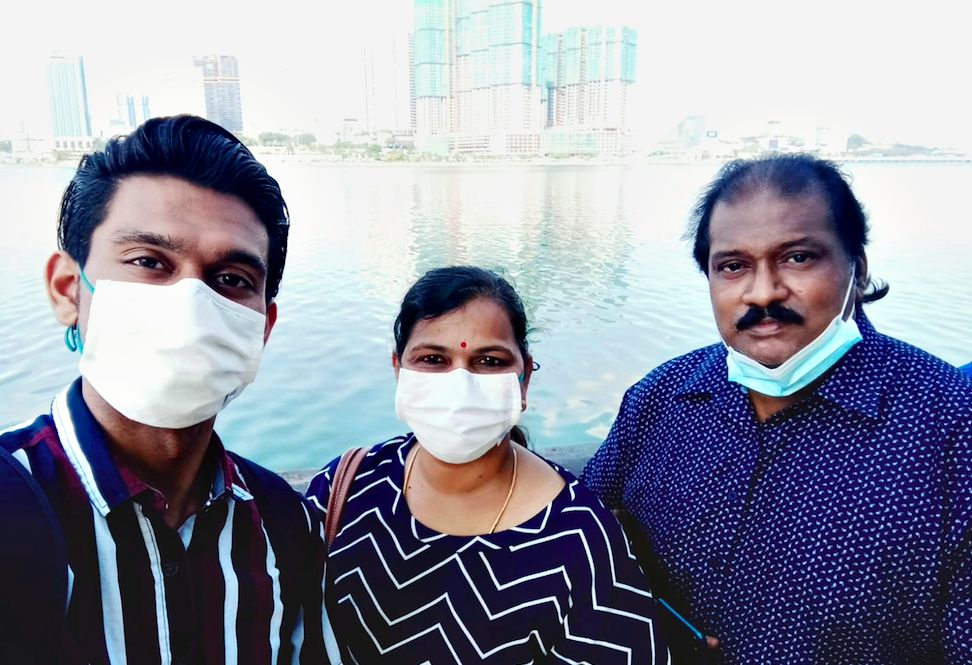 (From left) Naavinraj and his parents are Malaysians working in Singapore. They haven't been able to return home to Johor Baru since March. Photo: Naavinraj Rengasamy