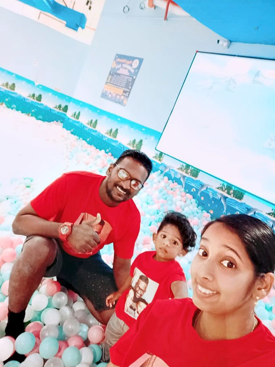 Jayanthy (right) with her husband David and their son before the MCO. Photo: Jayanthy Murthy