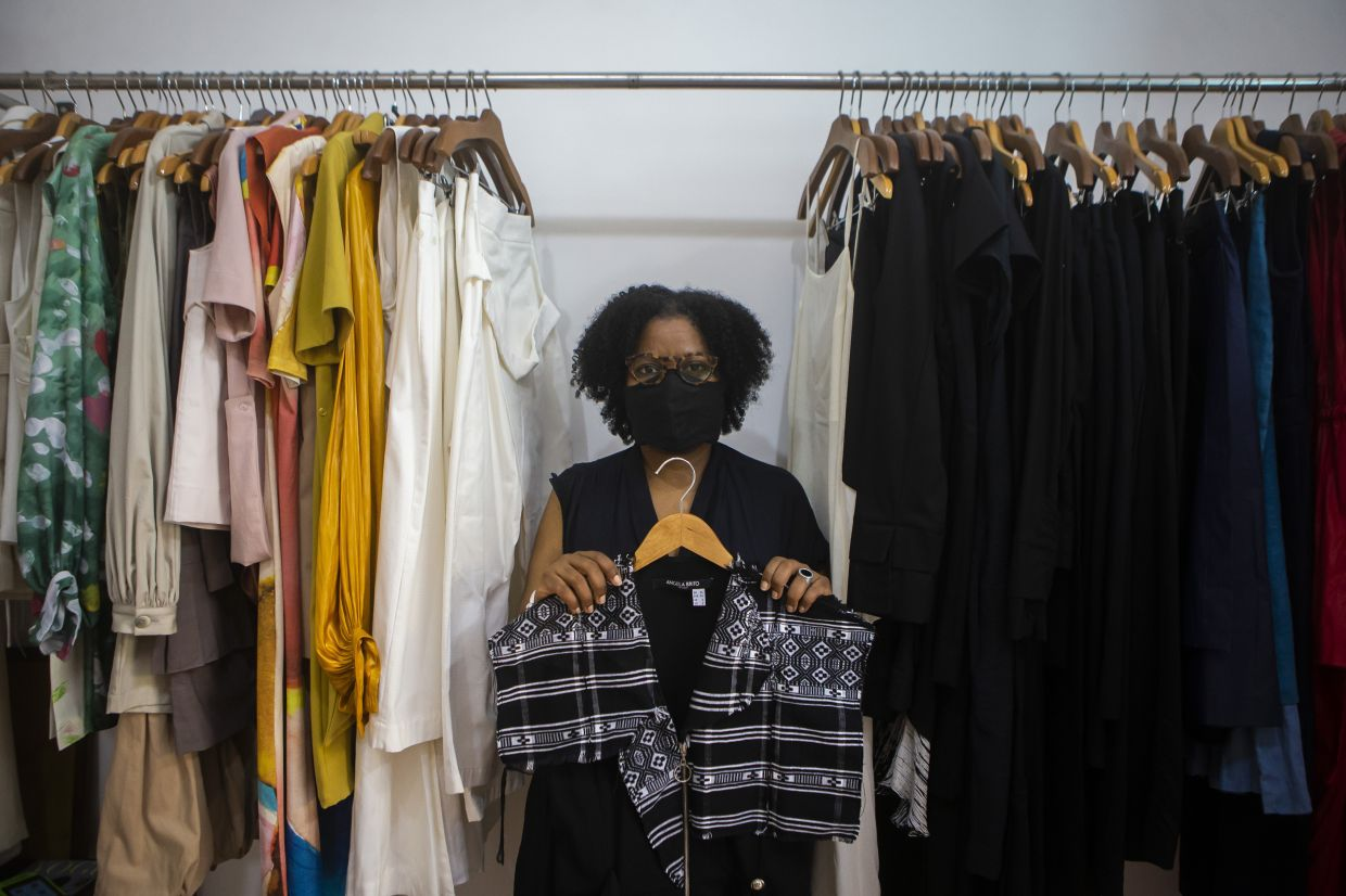 Angela Brito, a Rio De Janeiro-based designer who moved to Brazil from Cape Verde more than two decades ago, showing her 2020 collection, blending traditional woven cloth from her home country with other styles. Photo: AP