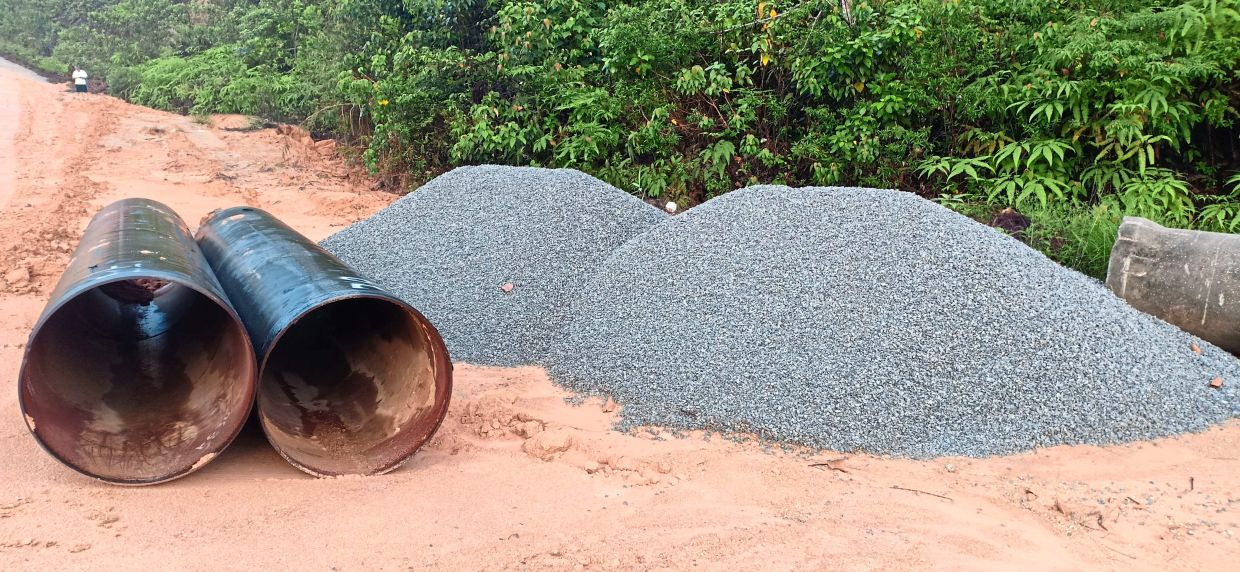 A check by StarMetro found two piles of gravel and steel culverts at the site.