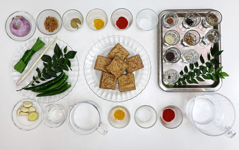 The ingredients for Sri Lanka-style tofu peratal.