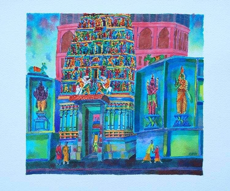 Victor Chin's watercolour work of the Sri Maha Mariamman Temple Dhevasthanam in Jalan Tun HS Lee in KL. Photo: Filepic