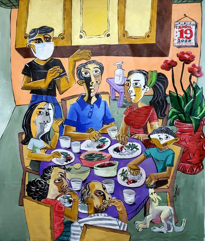 Sandran Krishnan's An Ocean of Memories Family Reunions (acrylic on canvas, 2020). Photo: Sandran Krishnan
