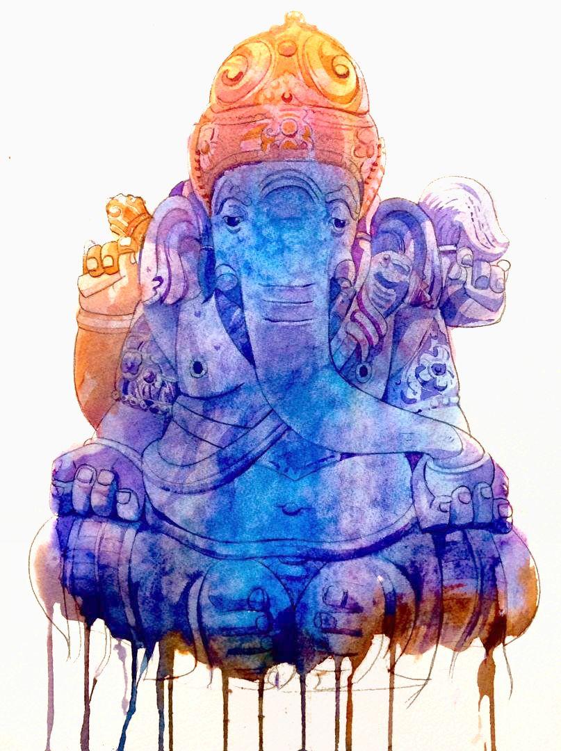 Stephen Menon'sWhispers Of Ganesha(watercolour on paper, 2019)