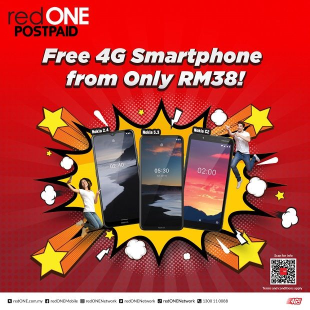 redONE is offering the most affordable postpaid plan that comes with a free 4G smartphone.