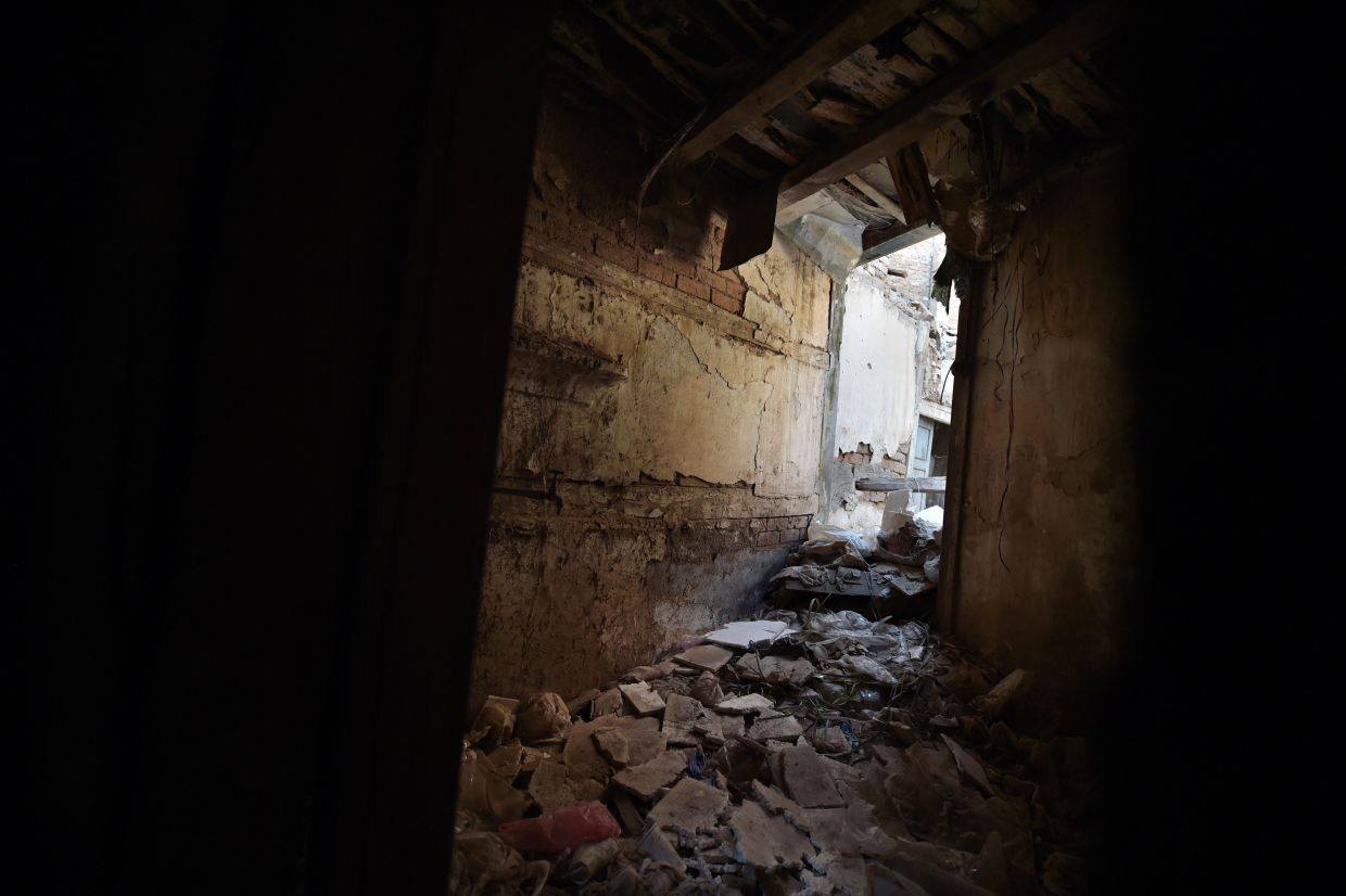 A dilapidated section of the more than 100-year-old ancestral home of Indian Bollywood actor Dilip Kumar in Peshawar. Photo: AFP