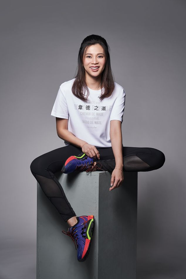 In one of her sponsor's clothing line.