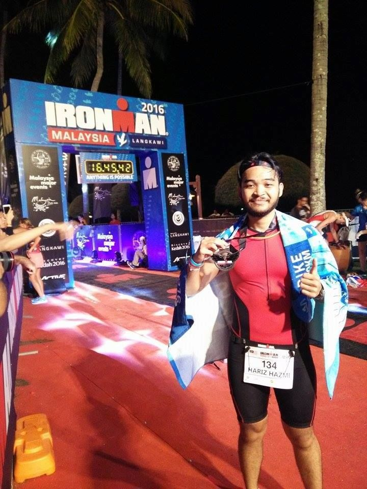 Hariz managed to pursue interests that include competing in the Ironman Langkawi 2016.