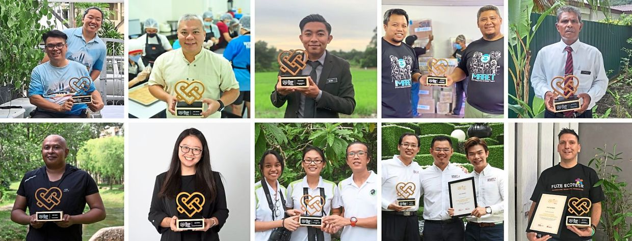 The winners: (Top row, from left) PWD Smart FarmAbility, Seven Tea One, Muhammad Nazmi Rosli, IMAM Response and Relief Team - IMARET and Sangga Sinnayah.  (Bottom row, from left) Kennedy Michael, Bengkel Teknologi Senior, Langur Project Penang, Great Heart Charity Association and Fuze Ecoteer Outdoor Adventures.