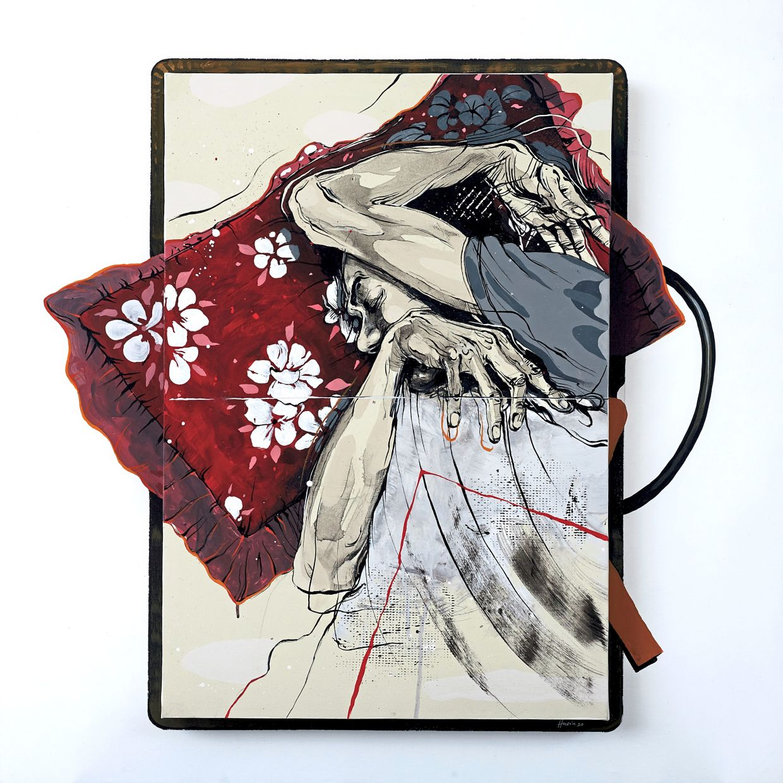 Husin's 'Bantal Merah' (acrylic on canvas, 2020). Photo: Core Design Gallery
